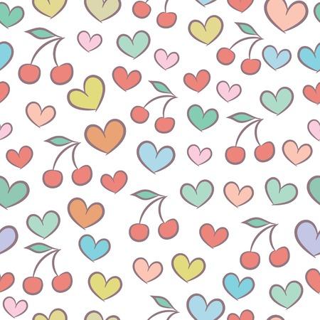 浪漫: 無縫模式與五顏六色的心和櫻桃 向量圖像