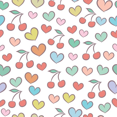 Seamless pattern with colorful hearts and cherries