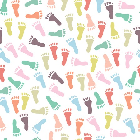 Seamless baby pattern with colorful footprints on a white background