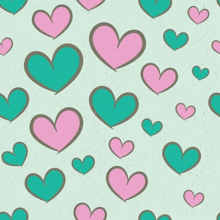 Seamless pattern with pink and green hearts, vintage background