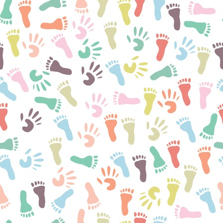 Baby colorful handprint and footprint, seamless pattern on a white background  Vector