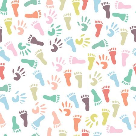 Baby kleurrijke handafdruk en voetafdruk, naadloze patroon op een witte achtergrond