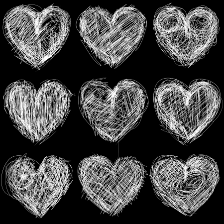 Seamless pattern with hearts chalkboard, love background and texture