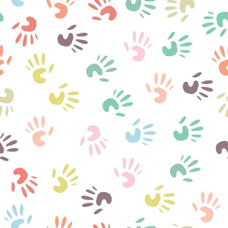 Baby colorful handprint, seamless pattern on a white background  Vector