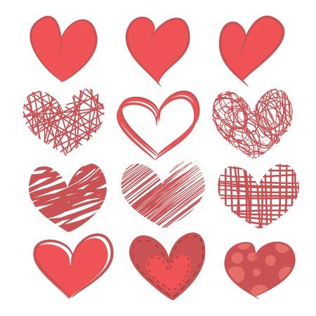 Een reeks van geschilderde harten geà ¯ soleerd op een witte achtergrond