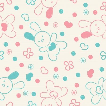 Seamless avec des jouets, roses bleues, des boutons, des coeurs et des fleurs
