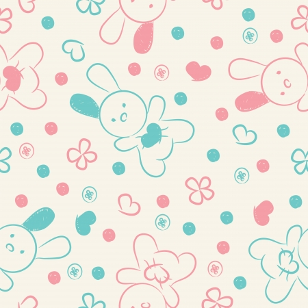Seamless background with blue, pink toys, buttons, hearts and flowers