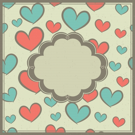 Valentines day card with label and seamless pattern with hearts  Stock Vector - 23161162