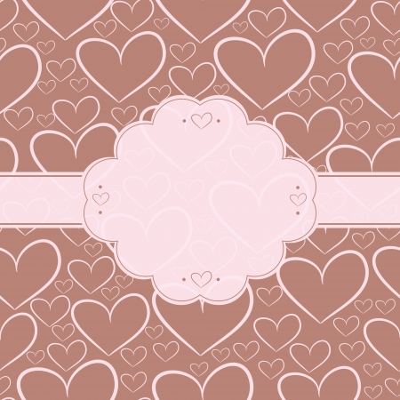 Card and seamless pattern with silhouettes of chocolate hearts