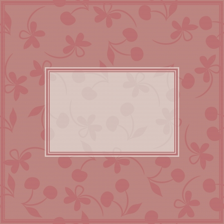 Card with label and seamless pattern with silhouettes of cherries