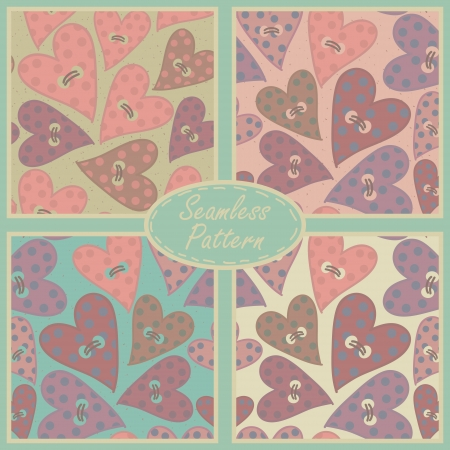 Romantic seamless patterns with buttons in the shape of hearts, backgrounds set  Stock Vector - 23661709
