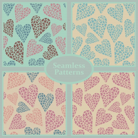 Romantic seamless patterns with silhouettes of hearts, backgrounds set  Stock Vector - 23661713