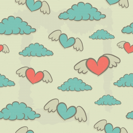Seamless pattern with hearts wings and clouds, vintage background for design  Stock Vector - 23661719