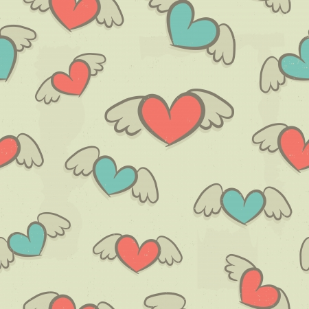 Seamless pattern, hearts with wings, vintage background Stock Vector - 23661721