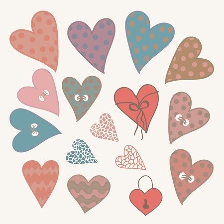 Cartoon hand drawn hearts icons set for design  Illustration