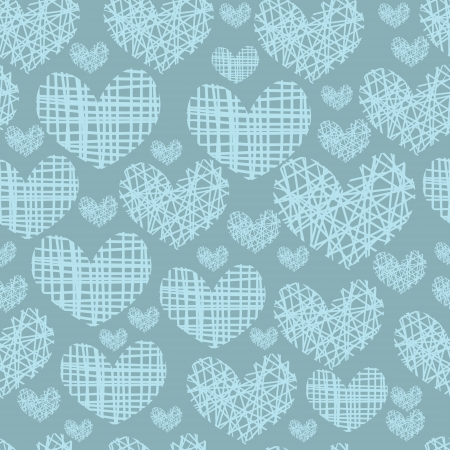 Seamless pattern with embroidery of hearts on a blue .