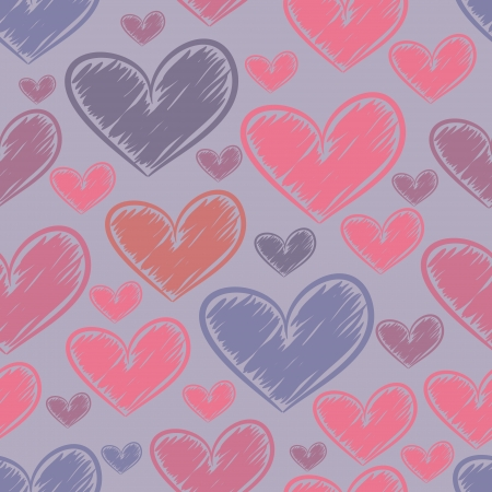 Seamless pattern with drawn in pencil shading colored hearts. Illustration