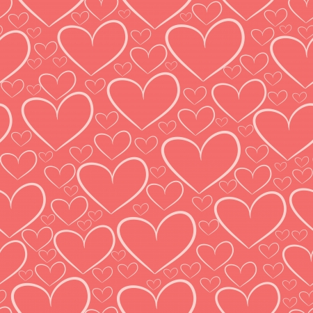 Seamless pattern with silhouettes of hearts, red