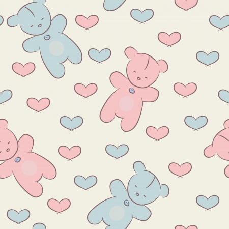 Seamless baby pattern with teddy bears and hearts. Ilustração