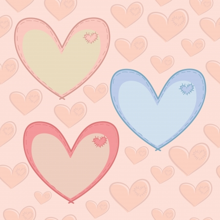 Seamless pattern with hearts with attached patches Illustration