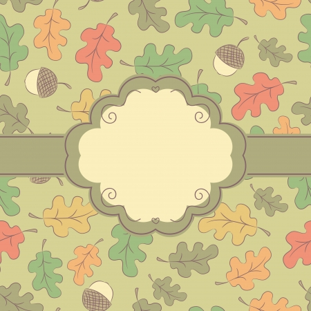 Autumn seamless pattern with label, ribbon, acorns and oak leaves  Vector