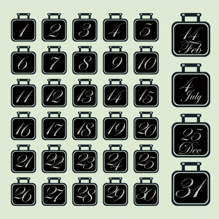 Set of calendar icons chalk on a blackboard for every day Stock Vector - 24333899