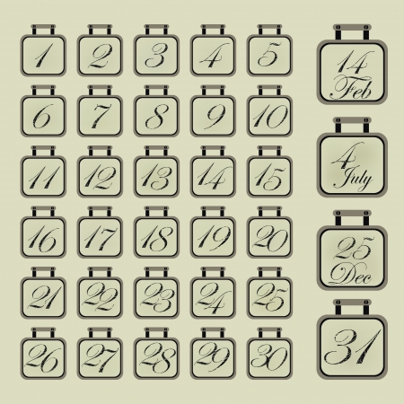 Set of retro calendar icons for every day Stock Vector - 24333902