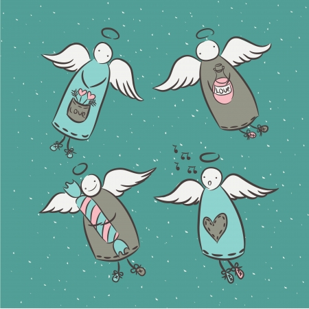 heart with wings: Cartoon postcard, set of cartoon characters angels  Illustration