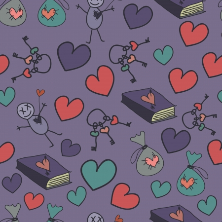 Seamless background with hearts, books and keys Vector