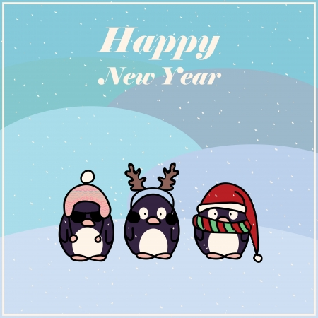Fun postcard for New Year with cartoon penguin wearing hats  Vector