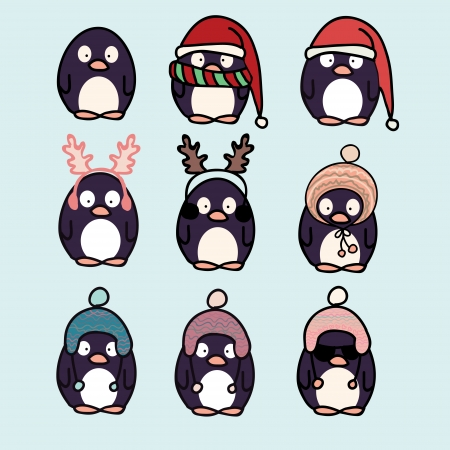 Fun penguins wearing hats cartoon icons set Vector