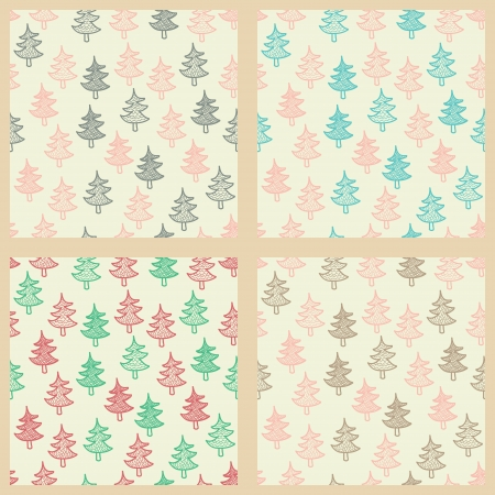 Seamless patterns set with cute sketch Christmas trees  Vector