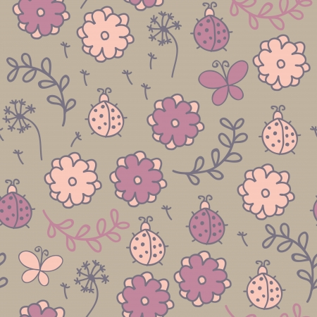 Romantic cartoon seamless pattern with ladybugs, flowers, butterflies