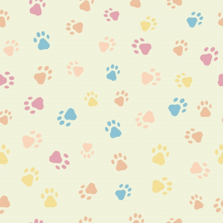 A fun seamless pattern of cats dogs footprints Illusztráció