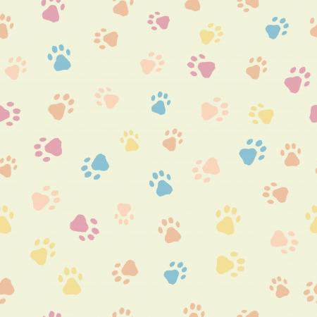print: Ein Spa� nahtlose Muster der Katzen Hunde Fu�spuren