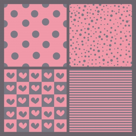 Set of seamless background patterns with hearts, stripes, polka dots  Vector