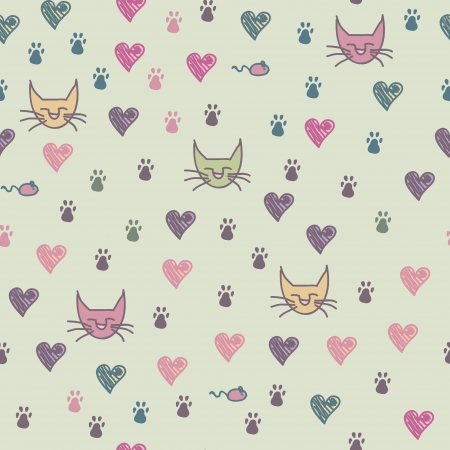 A cartoon seamless pattern of cat cats footprint Vector