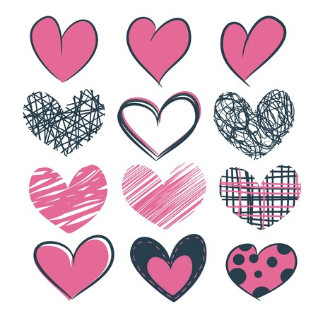 A set of grunge pink hearts hand drawn for design