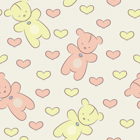 Seamless baby pattern with teddy bears and hearts  Vector