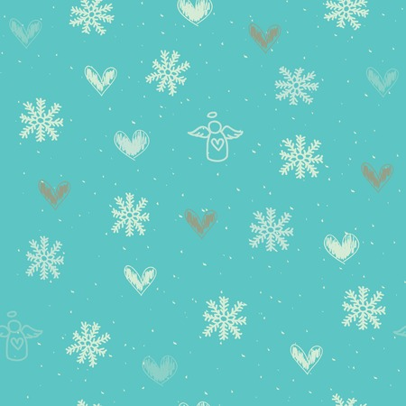 Seamless holiday background with snowflakes, hearts and angels Vector