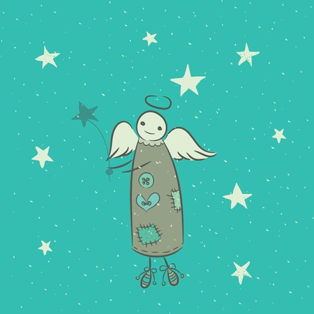 Cartoon illustration of an angel that lights the stars Vector