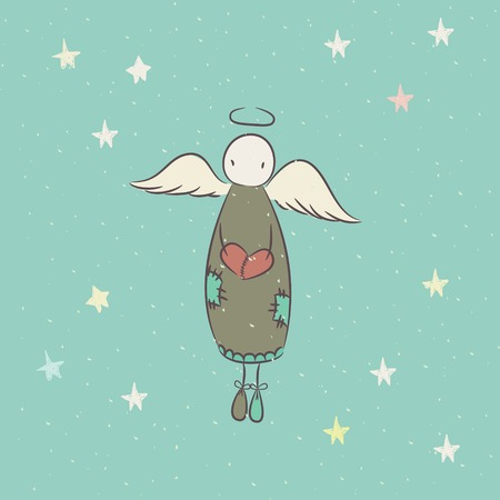 Hand drawn angel with heart in sky Vector