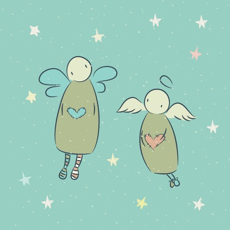 Cartoon hand drawn illusration with angel and character Vector
