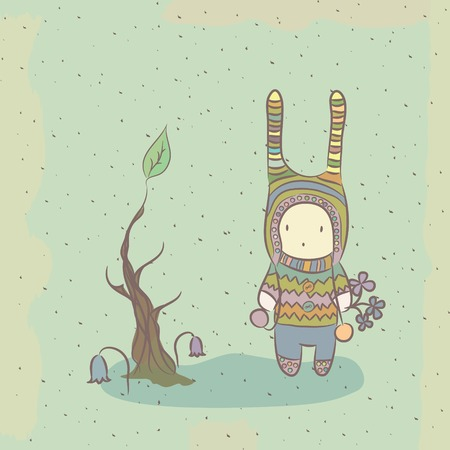 Fairy spring illustration with funny character and tree Vector