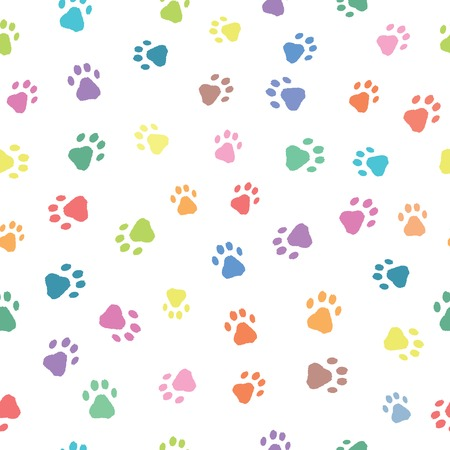 paw prints: Seamless patterns with colorful prints of cat and dog
