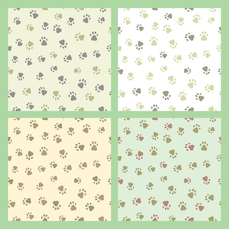 Set of seamless patterns with prints of cat and dog Illustration