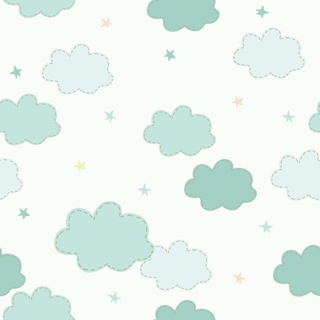 Cute clouds and stars seamless pattern for children
