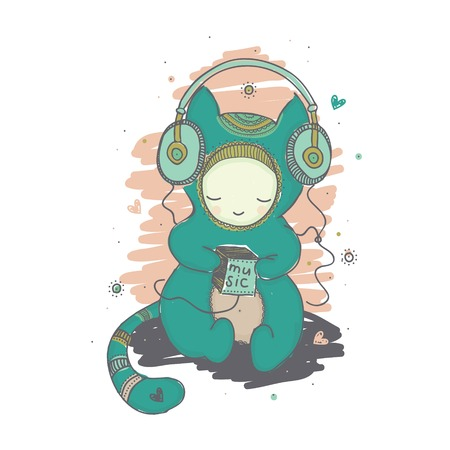 Illustration with a kind monster who likes to listen to music on headphone Ilustração