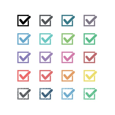 Set of twenty different vector check marks or ticks in boxes Vector