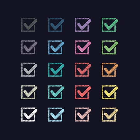 checklist icon: Set of twenty different multicolored drawn sketches strokes vector check marks or ticks in boxes on a black background